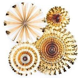 Set de 4 abanicos-molinillos, oro brillo.