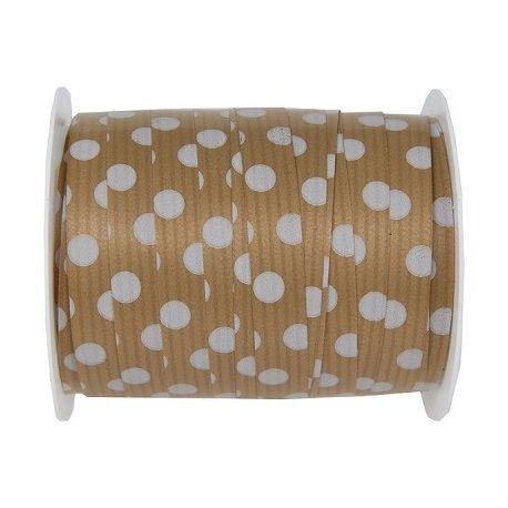 Cinta de regalo kraf con lunares blancos. 10 mm x 25 m