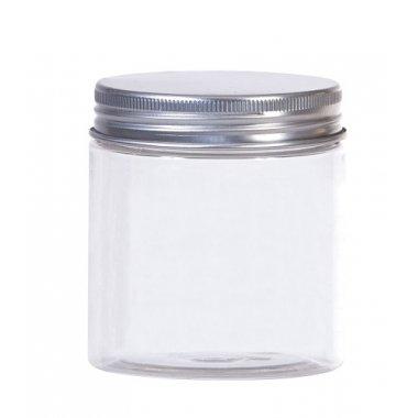 Bote-tarro de plástico transparente 10x14.5 cms.