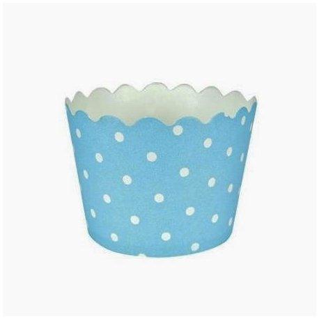 12 Tarrinas-cápsulas de papel. Azul claro con mini lunares blancos