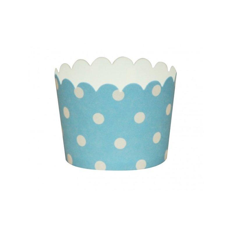 12 Tarrinas-cápsulas de papel. Azul claro con lunares blancos
