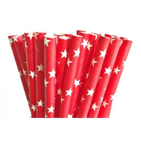 24 Pajitas de papel, rojas con estrellas blancas