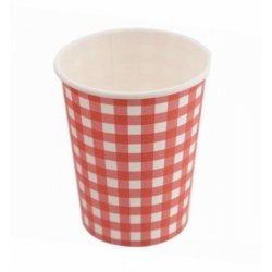 12 Vasos de papel, cuadritos de vichy rojos.