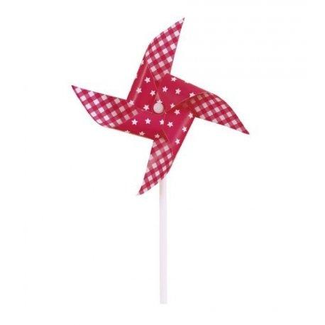3 Molinillos de viento, rojos con estrellas y cuadros vichy