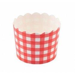 12 Tarrinas-cápsulas de papel, cuadros vichy rojos