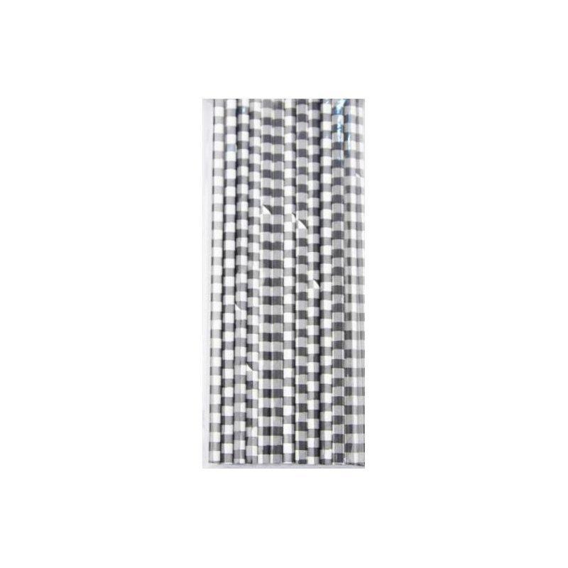 24 Pajitas de papel, cuadros vichy negros