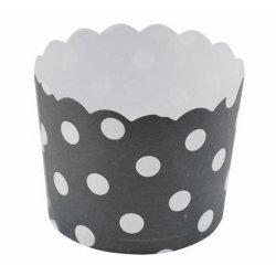12 Tarrinas-cápsulas de papel, Lunares, negro