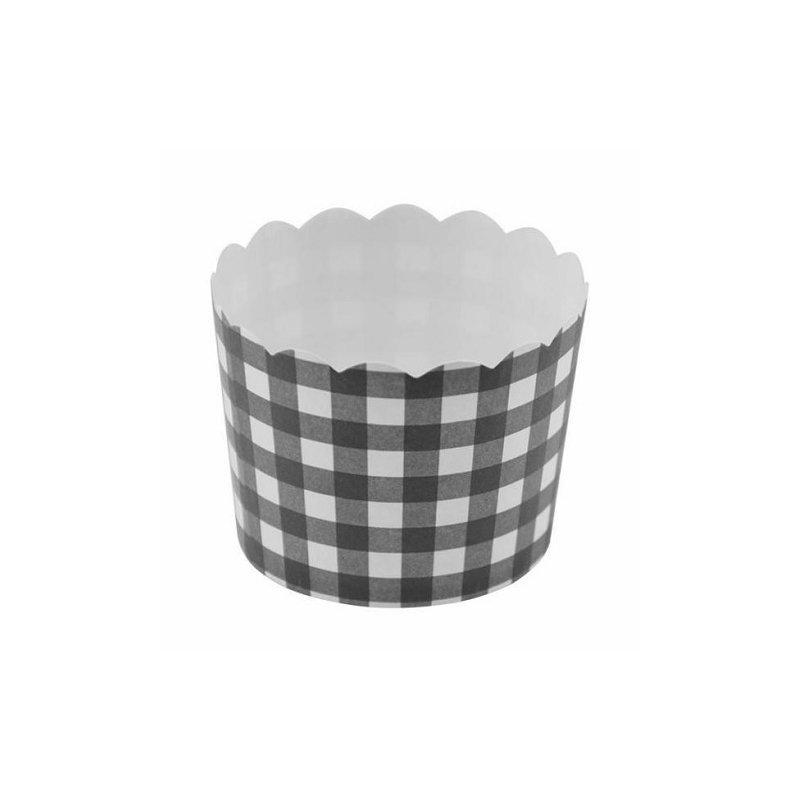 12 Tarrinas-cápsulas de papel, cuadros vichy negros