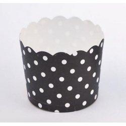 12 Tarrinas-cápsulas de papel, mini lunares, negro.