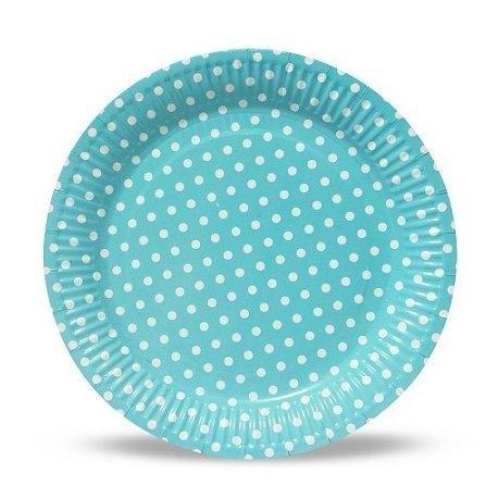 12 Platos de papel azul clarito con lunares blancos. 23 cms.