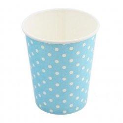 12 Vasos de papel, azul claro con lunares blancos