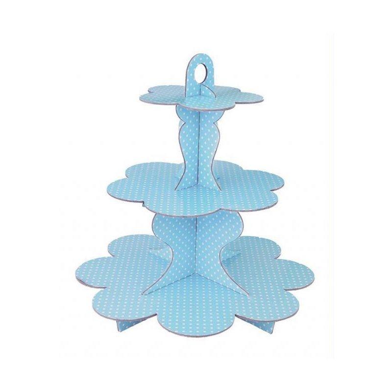 Stand-bandeja de 3 pisos, para tarta y cup cakes. Azul claro, lunares blancos.