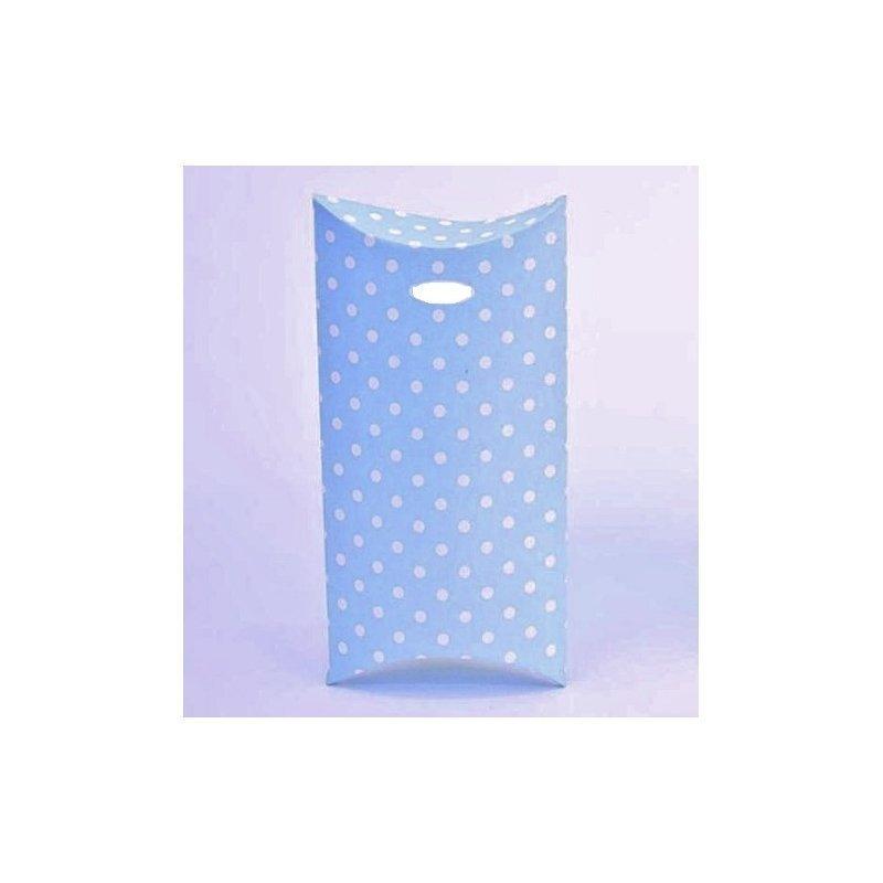 6 Cajitas de regalo, azul claro, lunares blancos