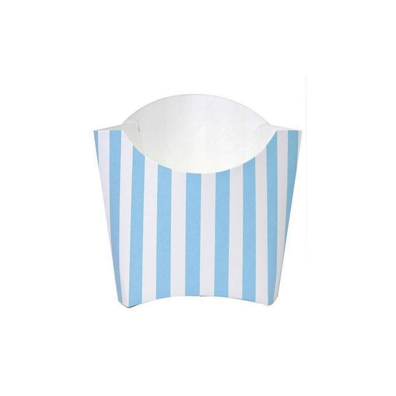 6 Cajas para patatas fritas, rayitas azul claro y blanco