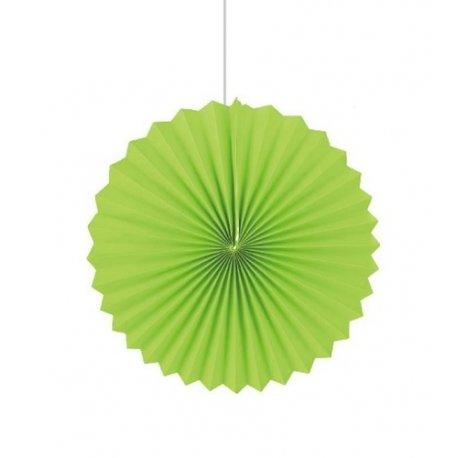 Abanicos de papel verde. 35 cms