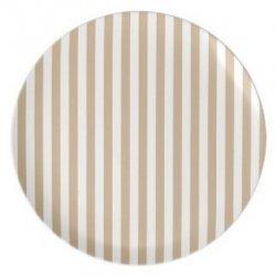 12 Platos de papel, rayas beige y blancas. 23 cms