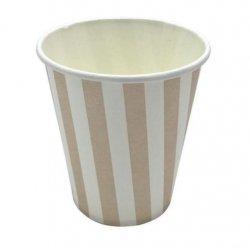 12 Vasos de papel, rayas beige-kraft y blancas.