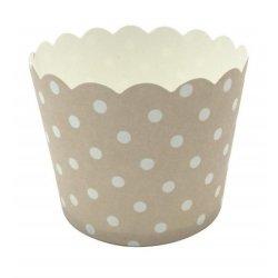 12 Tarrinas-cápsulas de papel, mini lunares, beige