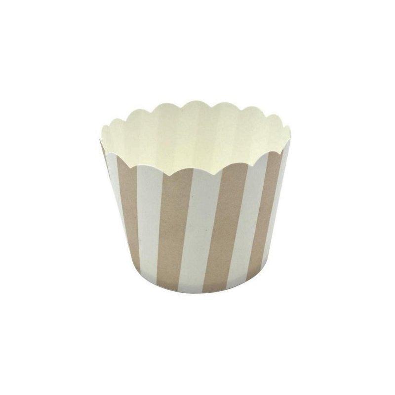 12 Tarrinas-cápsulas de papel, rayas beige.