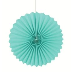 Abanico de papel turquesa. 30 cms