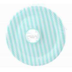 12 Platos de papel, rayas turquesa-mint. 23 cms