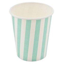 12 Vasos de papel, rayas turquesa-verde mint. Agotado temporalmente