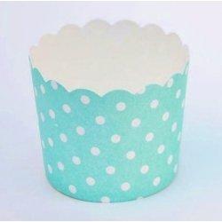 12 Tarrinas-cápsulas de papel, mini lunares, turquesa-mint