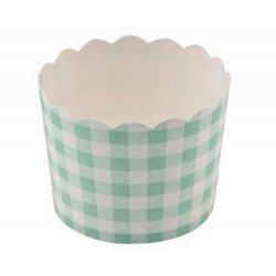 12 Tarrinas-cápsulas de papel, cuadros vichy turquesa-mint