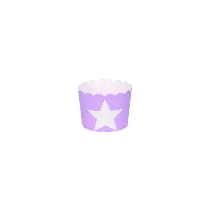 12 Tarrinas-cápsulas de papel, lila estrella blanca