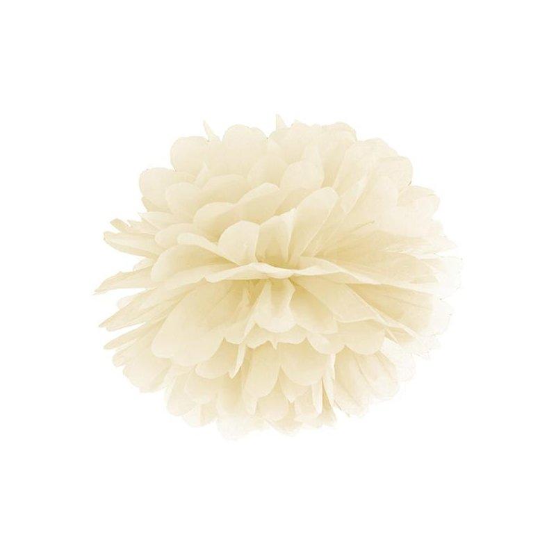 Pompón de papel de seda, marfil. 35 cms