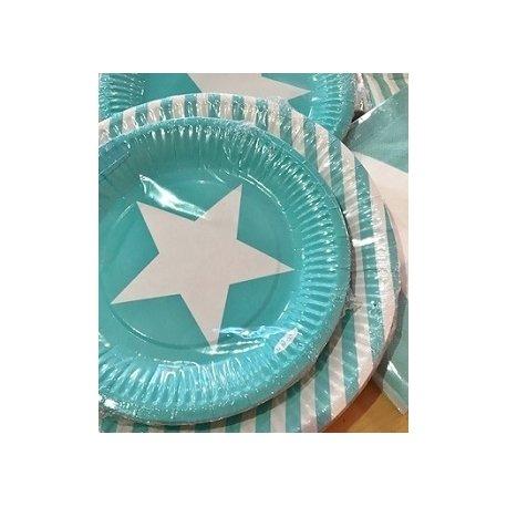 12 Platos de papel/cartón, turquesa-mint con estrella blanca.