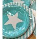 12 Platos de papel/cartón, turquesa-mint con estrella blanca