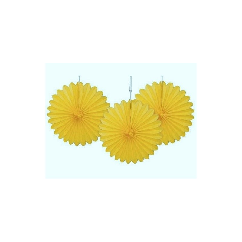 2 Abanicos de papel amarillo. 20 cms