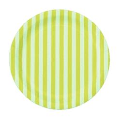 12 Platos de papel, rayas amarillas y blancas. 23 cms