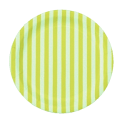 12 Platos de papel azul clarito con rayas blancas. 23 cms