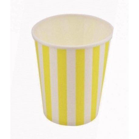 12 Vasos de papel, rayas amarillas y blancas.