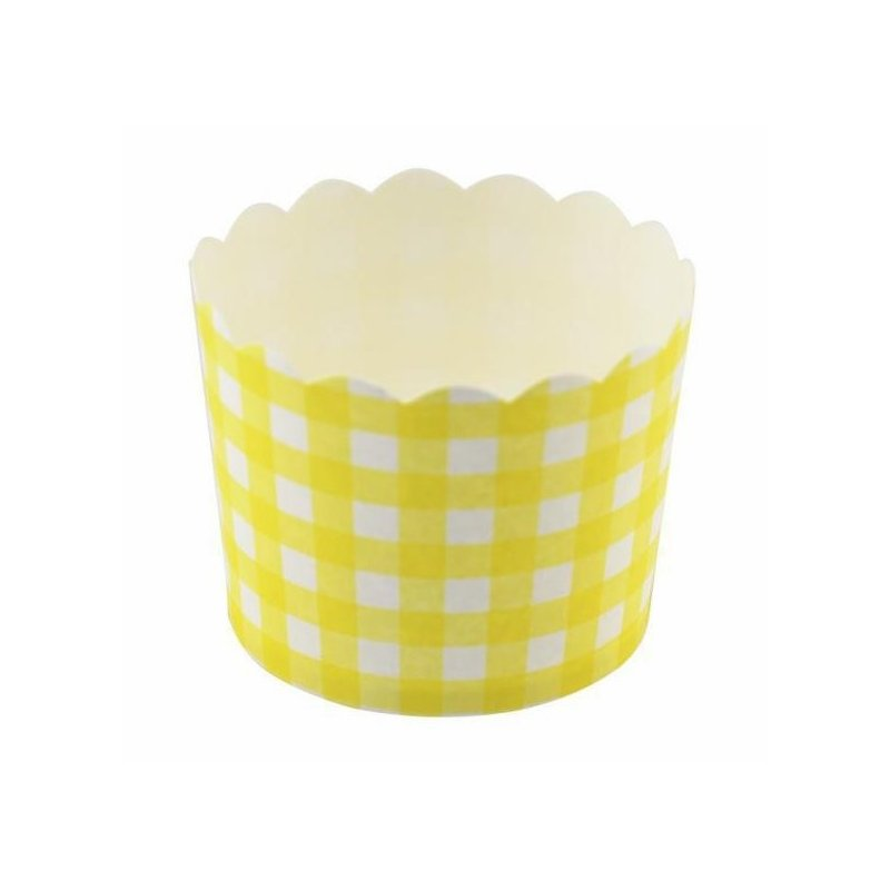 12 Tarrinas-cápsulas de papel, cuadros vichy amarillo
