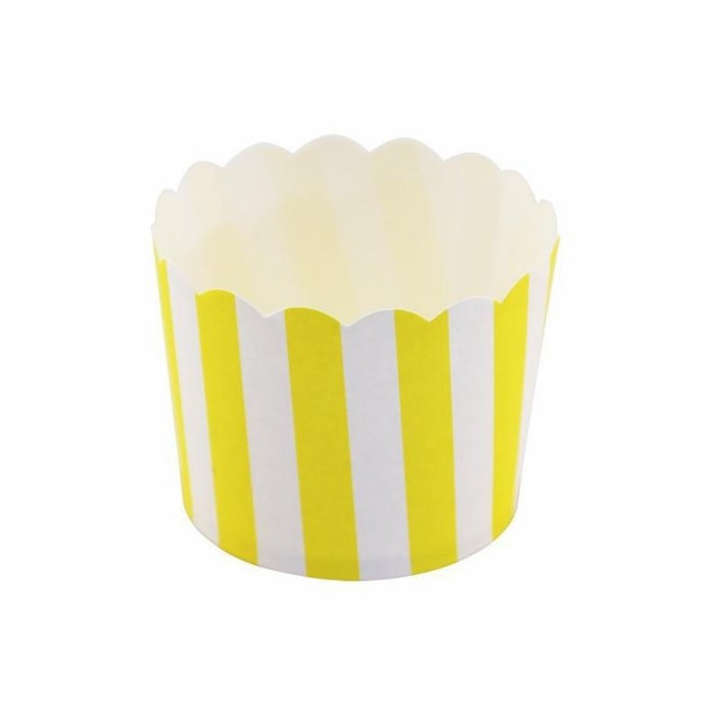 12 Tarrinas-cápsulas de papel, rayas amarillas