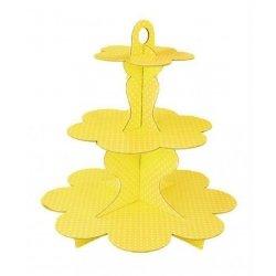 Stand-bandeja de 3 pisos, para tarta. amarillo, lunares blancos