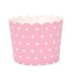 12 Tarrinas-cápsulas de papel, mini lunares, rosa