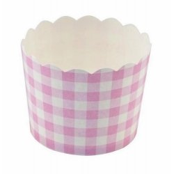 12 Tarrinas-cápsulas de papel, cuadros vichy rosa