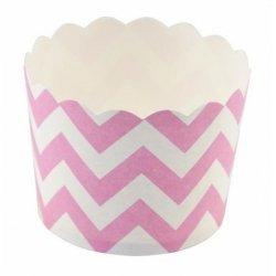 12 Tarrinas-cápsulas de papel, chevron rosa
