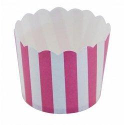 12 Tarrinas-cápsulas de papel, rayas fucsia