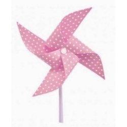 3 Molinillos de viento, rosa con lunares blancos