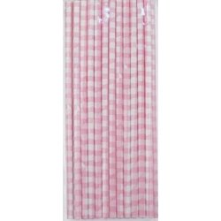 24 Pajitas de papel, cuadros vichy rosa