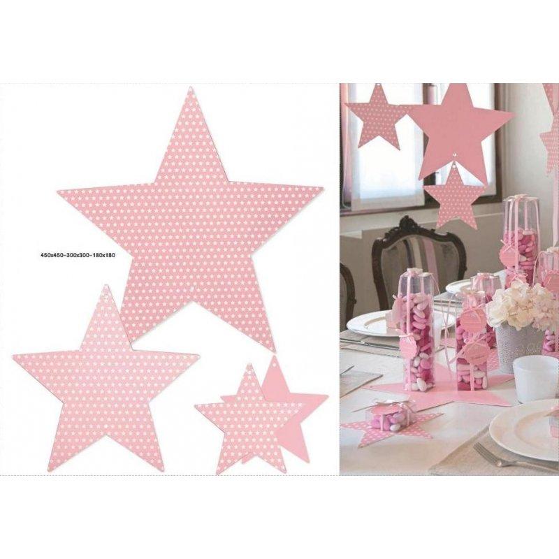 Set de 6 estrellas de cartón, rosa