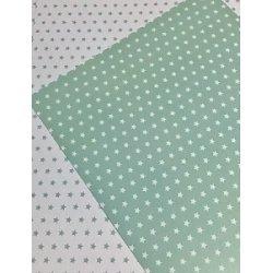 10 Hojas de papel A4, impreso a doble cara. Estrellas verde mint.