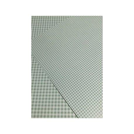 10 Hojas de papel A4, impreso a doble cara. Cuadros vichy verde mint