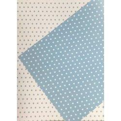 10 Hojas de papel A4, impreso a doble cara. Estrellas azul claro.