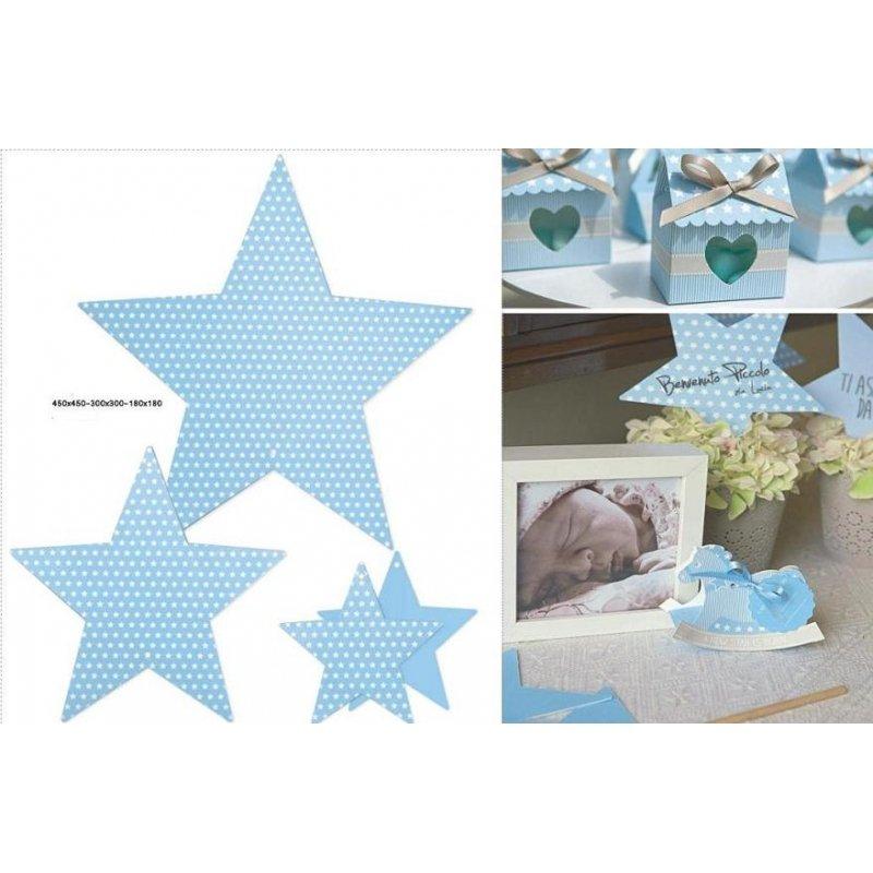 Set de 6 estrellas de cartón, azules